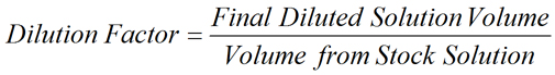 Equation for Dilution Factor - Ratio of Volumes