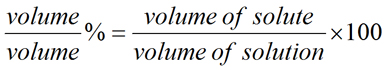 Equation for Volume/Volume Percent Solution Concentration