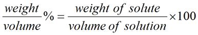 Equation for Weight/Volume Percent Solution Concentration