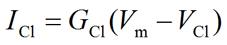 Membrane current equation for potassium ion (Cl-)