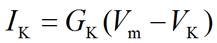 Membrane current equation for potassium ion (K+)