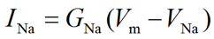Membrane current equation for sodium ion (Na+)