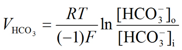 Nernst equation: Bicarbonate (HCO3-) equilibrium potential