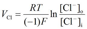 Nernst equation: Chloride (Cl-) equilibrium potential