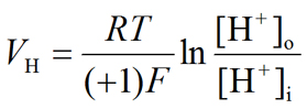 Nernst equation: Hydrogen ion (proton, H+) equilibrium potential