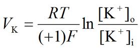 Nernst equation: Potassium (K+) equilibrium potential