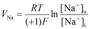 Nernst equation: Sodium (Na+) equilibrium potential