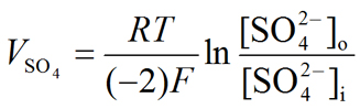 Nernst equation: Sulfate (SO4--) equilibrium potential