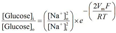Equation describing the concentrative capacity of the Na+/glucose cotransporter (SGLT)