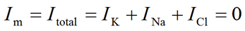 Total membrane current equation at steady-state (Im = IK + INa + ICl = 0)