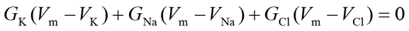 Equation. Total membrane current equation at steady-state expanded - 1